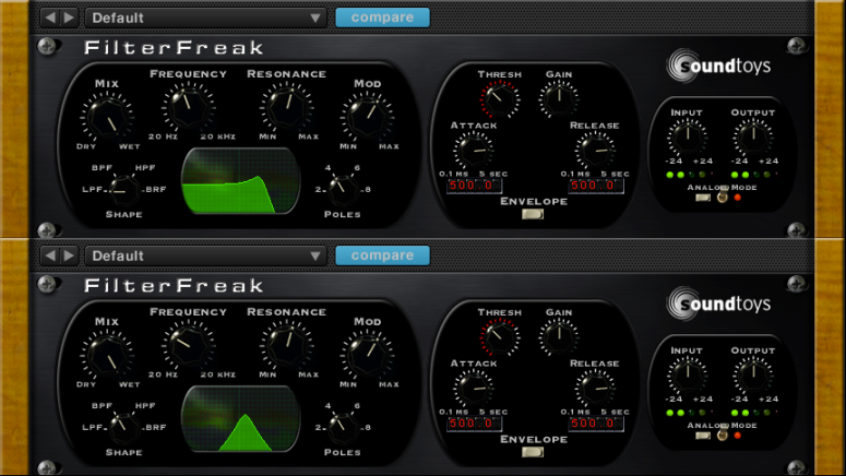 Soundtoys Filter Freak snapshots