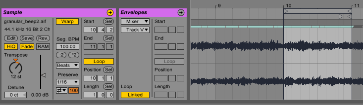 Looping and transposing (Ableton Live)