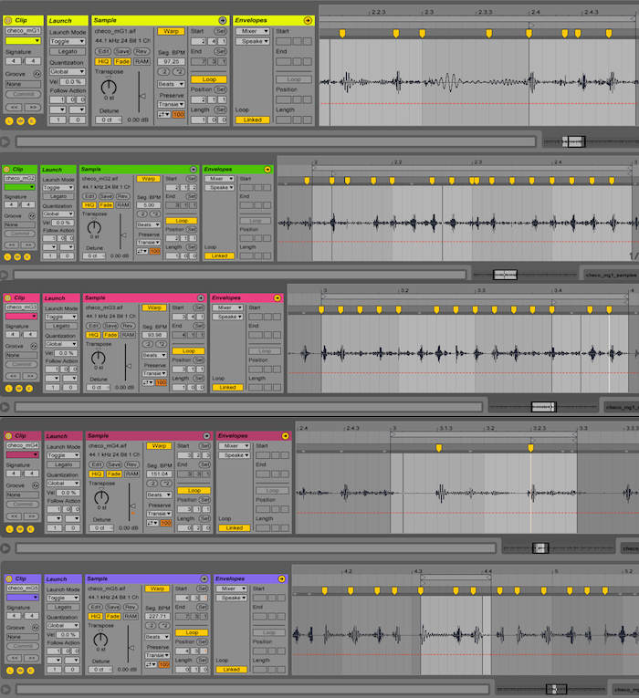All drum patterns after adjusting the transients